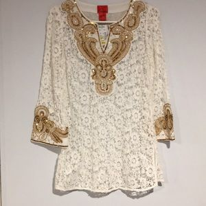 Christina V Gold sequined and white tunic top Sz S